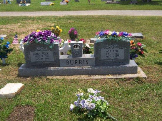 Headstone of Rosa Pearl and Asa Azil Burris