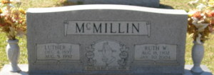 Headstone of Luther and Ruth McMillin