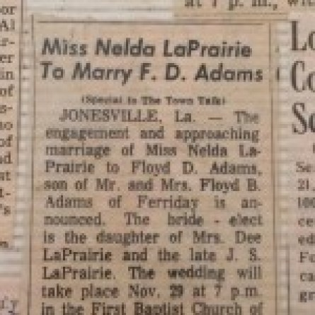 Nelda's wedding announcement
