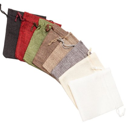 HP130 Group hessian-look drawstring pouches 80x130mm assorted colours