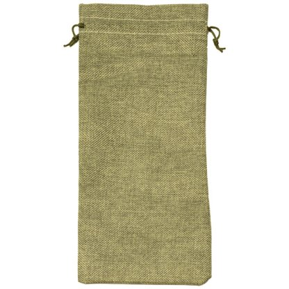 HP340-OGN hessian-look wine bottle pouch, with drawstring - 150 x 340mm - olive green