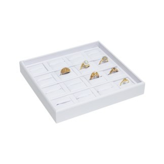 716FR-WW_16-recess_divided_leatherette_ring_tray_filled_white_white