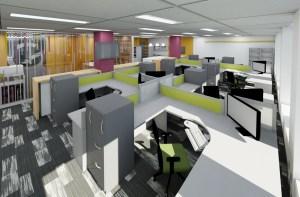 Grant Design Group Open Area Workstation Render