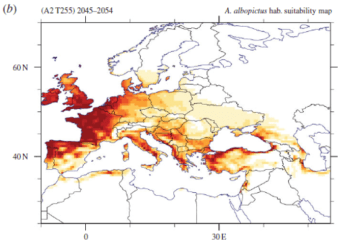 European map of simulated Aedes albopictus habitat suitability based on one future climate projection for the period 2045-2054.
