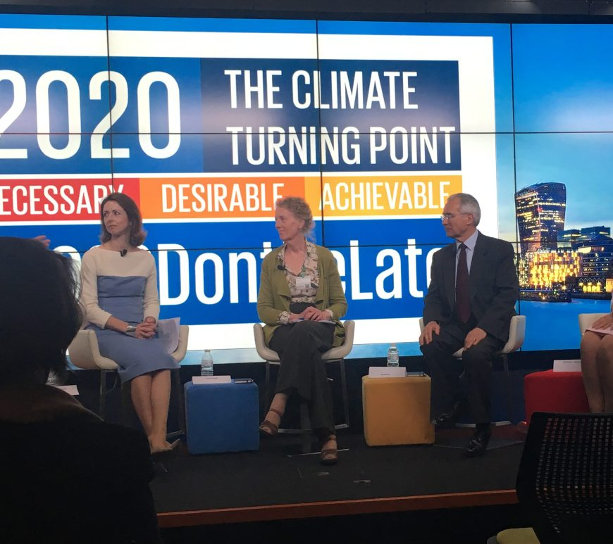 Professor Jo Haigh and Lord Stern share the stage with Christiana Figueres at the Mission 2020 launch event 10 April 2017