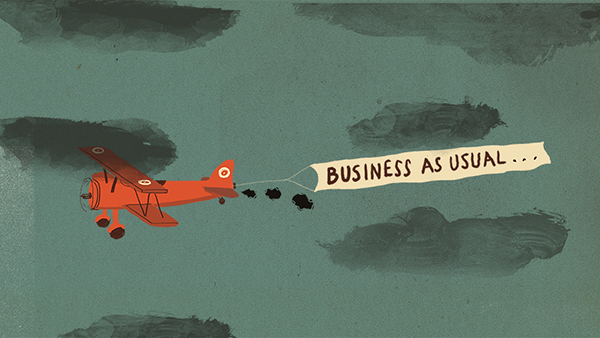 "Graphic showing a plane flying with a ""Business as usual"" banner"