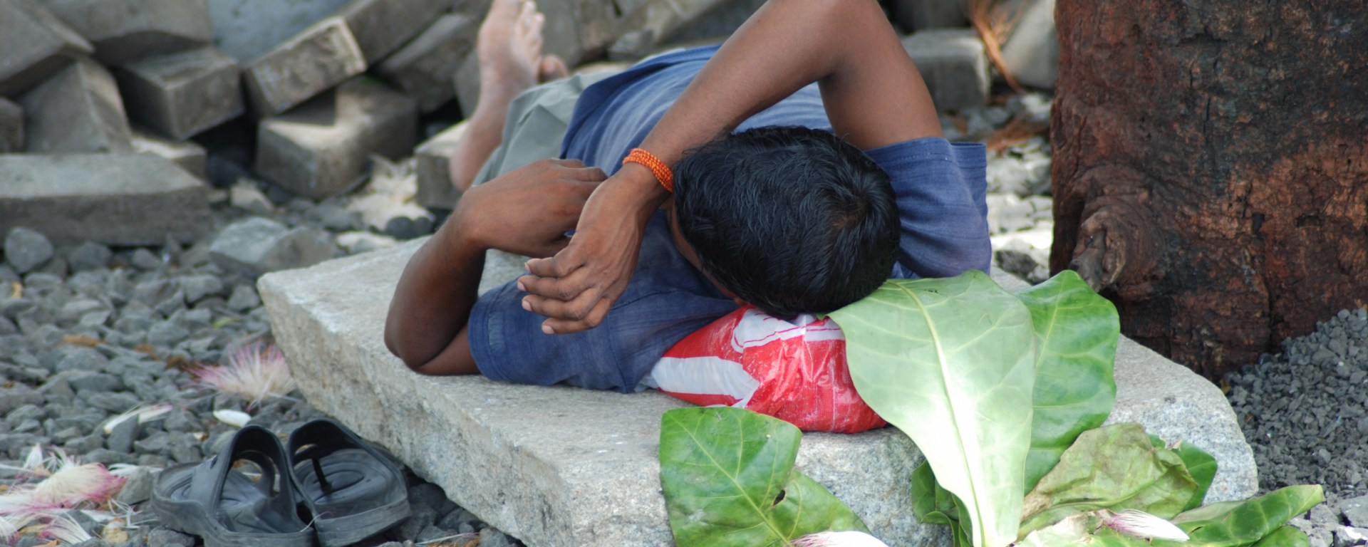 Labourer taking an afternoon nap