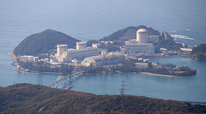 Mihama Nuclear Power Plant and Nyu Bridge seen from Mount Saiho in Fukui prefecture, Japan.