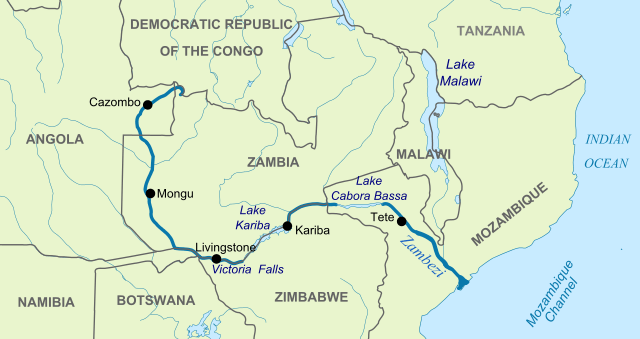 Map of the Zambezi river, with national boundaries, showing location of hydroelectric dams