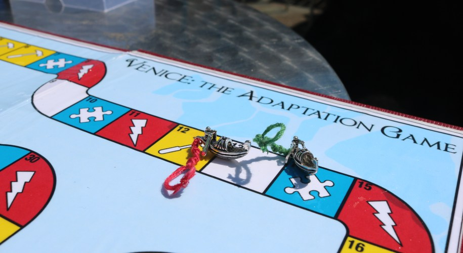 A close up of the boardgame - Venice: The Adaptation Game - showing the player pieces