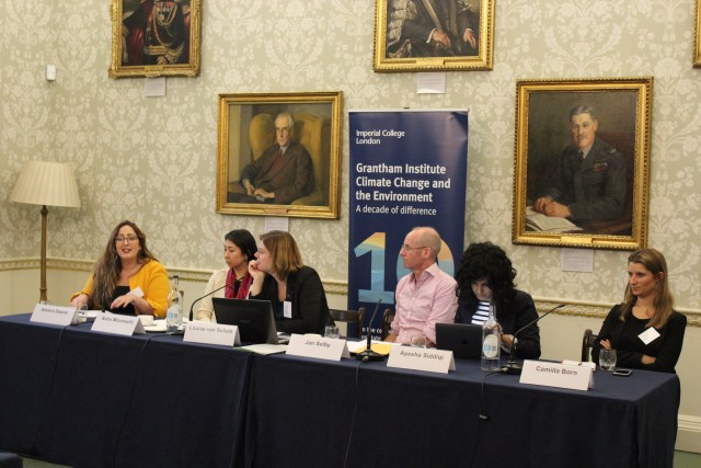 Panel of 6 speakers, 5 female one male, in front of the Grantham Institute banner