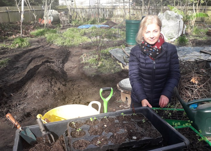 Gosia Gayer in the allotment