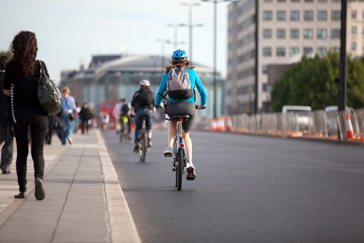 Cyclists and pedestrians on Waterloo Bridge