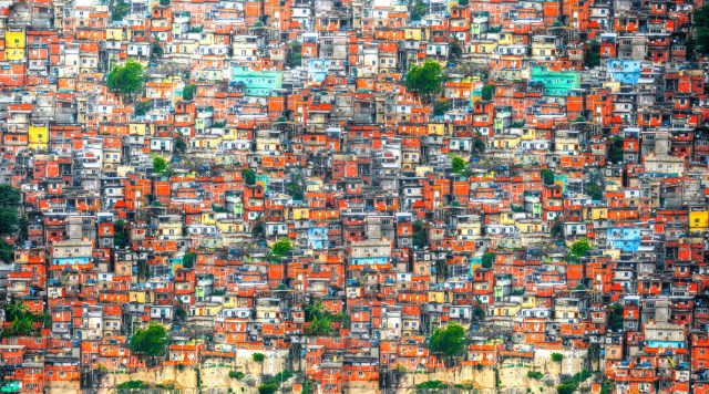 Colourful painted buildings of Favela  in Rio de Janeiro Brazil