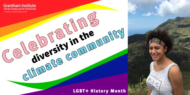 Text saying 'Celebrating diversity in the climate community' and 'LGBT+ History Month' Next to a picture of Dr Jazmin Scarlett.