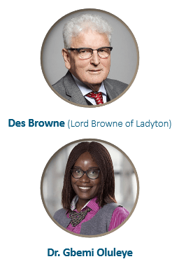 Two head-shot photos of the authors, Des Browne (Lord Browne of Ladyton) is a white man with short white hair and thick rimmed glasses wearing a grey suit and a red tie. Dr Gbemi Oluleye is a Black woman with dark brown shoulder length hair and round glasses, she wears a pink short, grey waistcoat and a necklace.