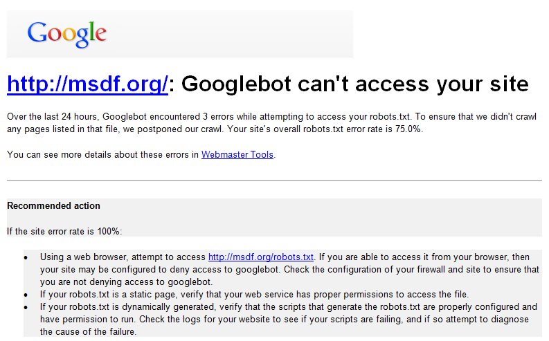 Googlebot can't access your site