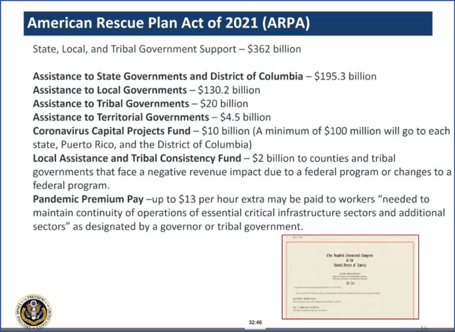 Screenshot of American Rescue Plan Act breakdown by funding area