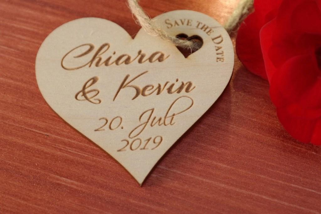 Hochzeit 5er-Set Save The Date Karte aus Holz Gravur Hochzeit