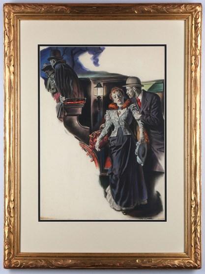 Framed view in ornate vintage art deco gesso frame.