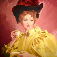 Hatted Glamour Girl With Demitasse
