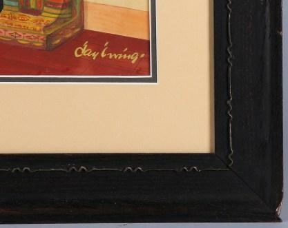 Frame detail of period fumed oak frame
