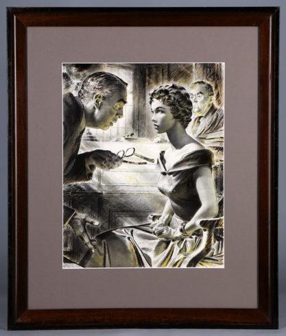 Framed view in original handsome wood enameled frame behind glass.