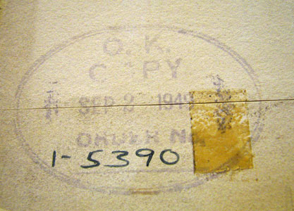 Company stamp on verso