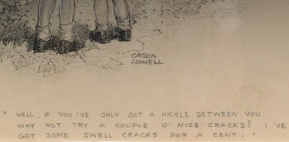 The artist's signature and caption