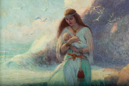 Viking mother with infant