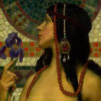 Art Nouveau Nude With Purple Iris
