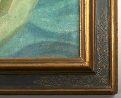 The artist's signature lower right and corner frame profile view
