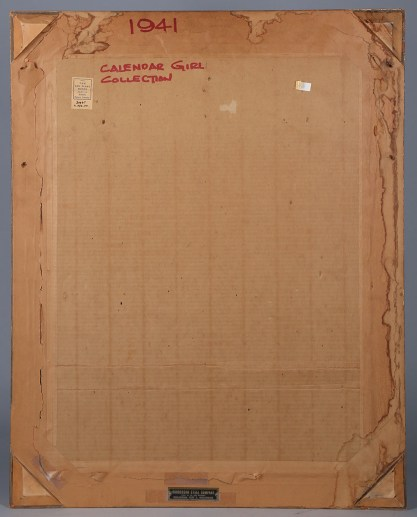 Verso view of unopened back with original framers label and Plaque from Robberson Steel Company, Oklahoma City