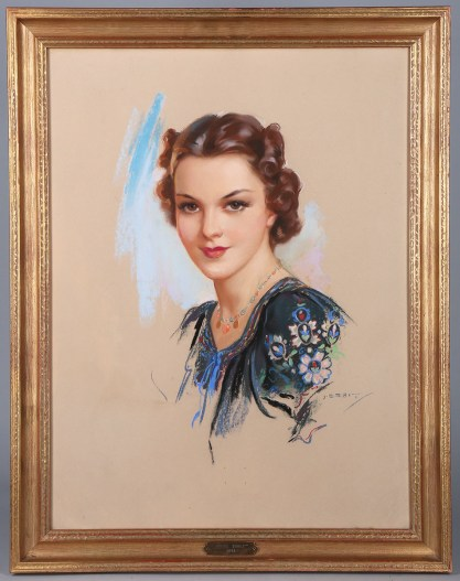 Framed and matted behind glass in original frame