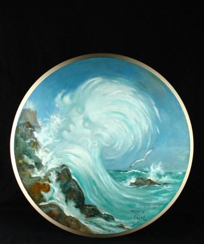 Framed view in enamel painted original frame