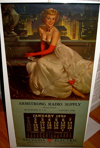 Large advertising calendar of image included in sale