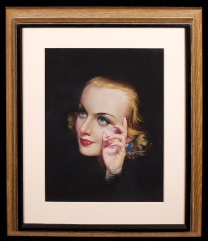 Framed and matted behind glass in period limed wood art deco frame