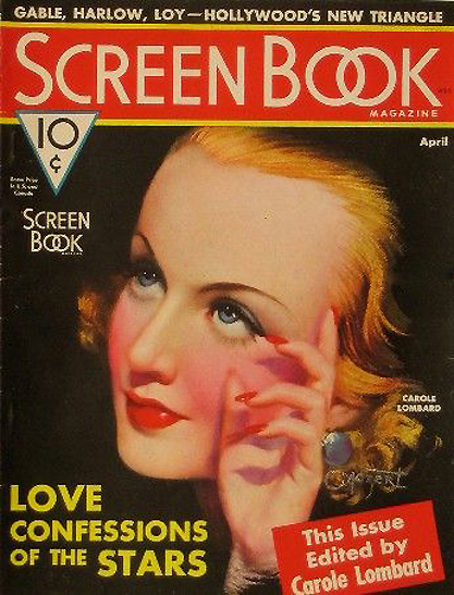The illustration as it appears as the cover of Screen Book Magazine - April 1936