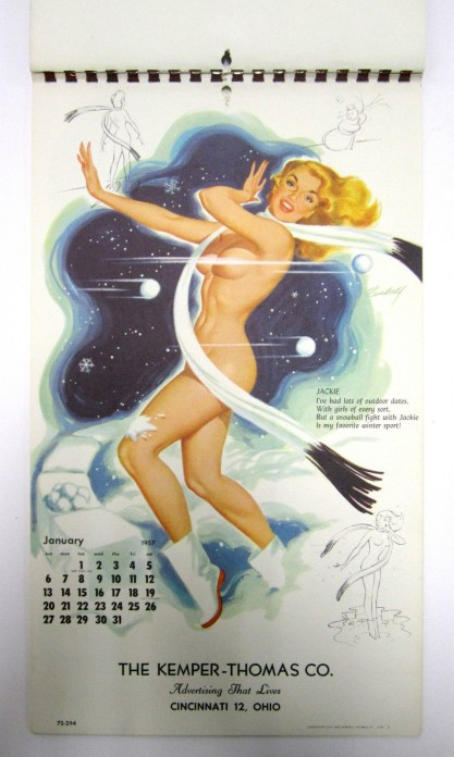 A snowball fight with Jackie calendar page