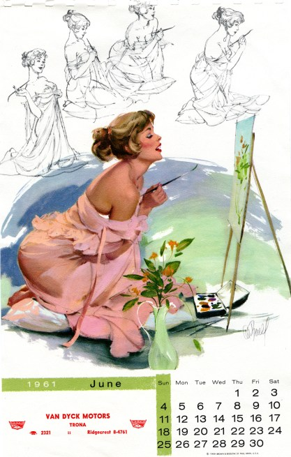 The painting as it appeared in print version June 1961; for Brown & Bigelow