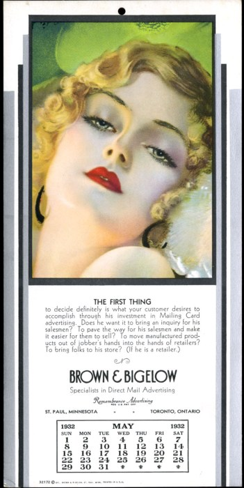 """Dreaming"" by Rolf Armstrong as it appeared on an advertising calendar for Brown & Bigelow."