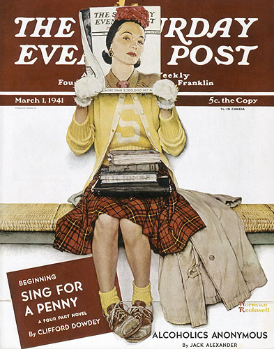 "Saturday Evening Post cover titled ""Girl Reading The Post"" at the Norman Rockwell Museum"