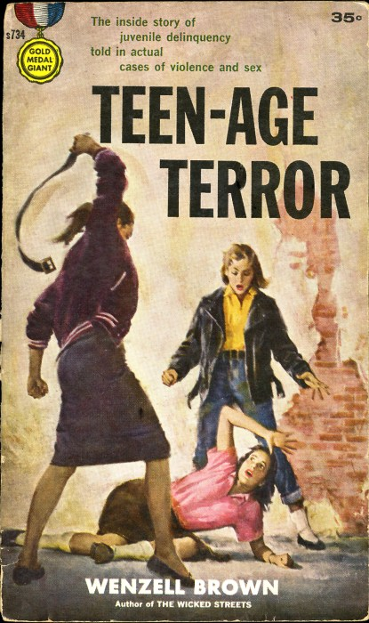 The painting as it appeared on the cover of The Fawcett Gold Medal Giant paperback title of 1958, Teen-Age Terror