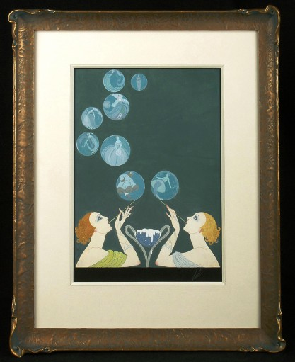 Framed and matted behind glass in custom made gesso frame