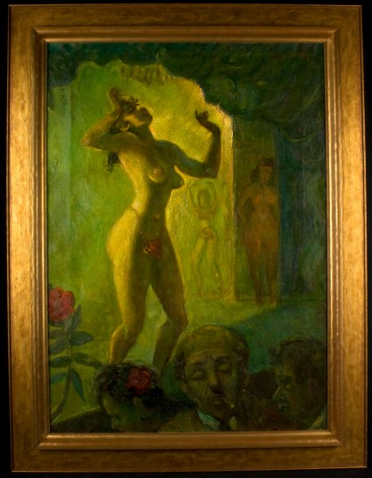 Framed view in handsome gold Larson-Juhl gallery frame
