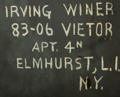 New York address on verso in artist's hand