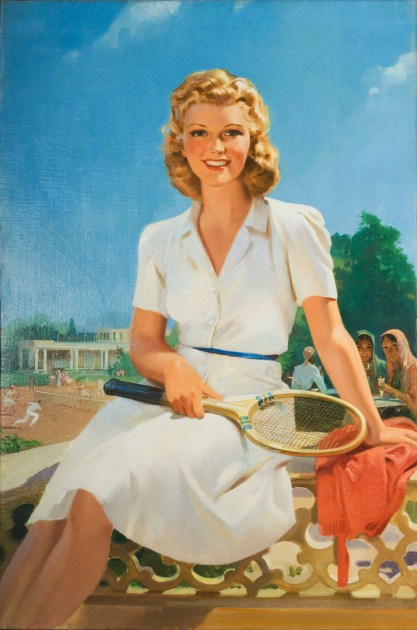 Full view of oil on canvas advertising painting