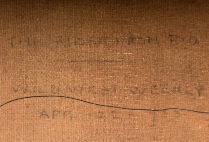 Usage notation on back canvas detail