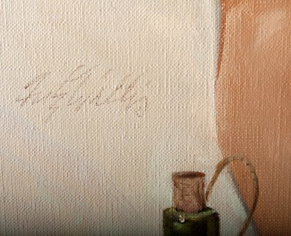 The artist's signature middle left
