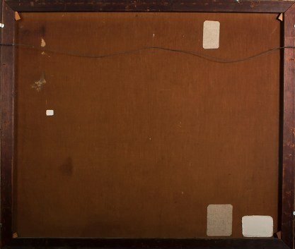 Verso view of old canvas showing prior repaired patches
